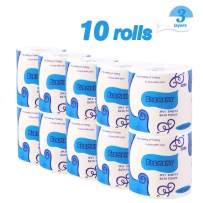 10 Rolls Toilet Paper 3-Ply Ultra Soft & Strong Paper Towels Highly Absorbent Flushable Household Towel Tissue for Home Kitchen Cafe Shop Hand Towels for Daily Use