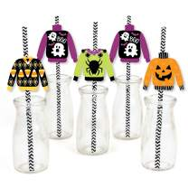Big Dot of Happiness Halloween Ugly Sweater - Paper Straw Decor - Halloween Party Striped Decorative Straws - Set of 24