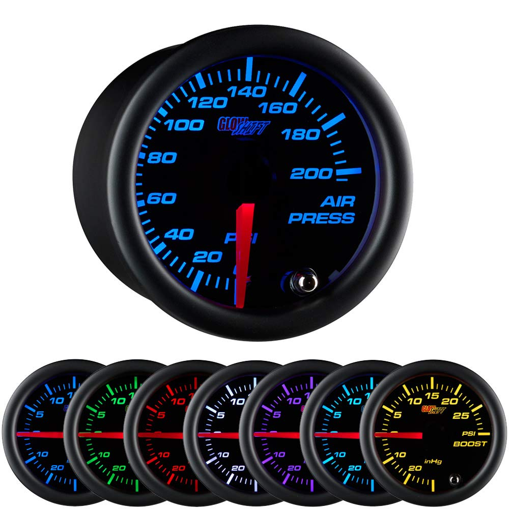 """GlowShift Black 7 Color 200 PSI Mechanical Air Pressure Gauge - for Air Ride Suspension Systems - Black Dial - Clear Lens - 2-1/16"""" 52mm"""