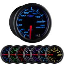 "GlowShift Black 7 Color 200 PSI Mechanical Air Pressure Gauge - for Air Ride Suspension Systems - Black Dial - Clear Lens - 2-1/16"" 52mm"