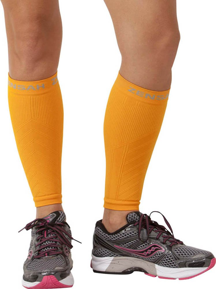 Zensah Compression Leg Sleeves, Color:Orange, LG/XL