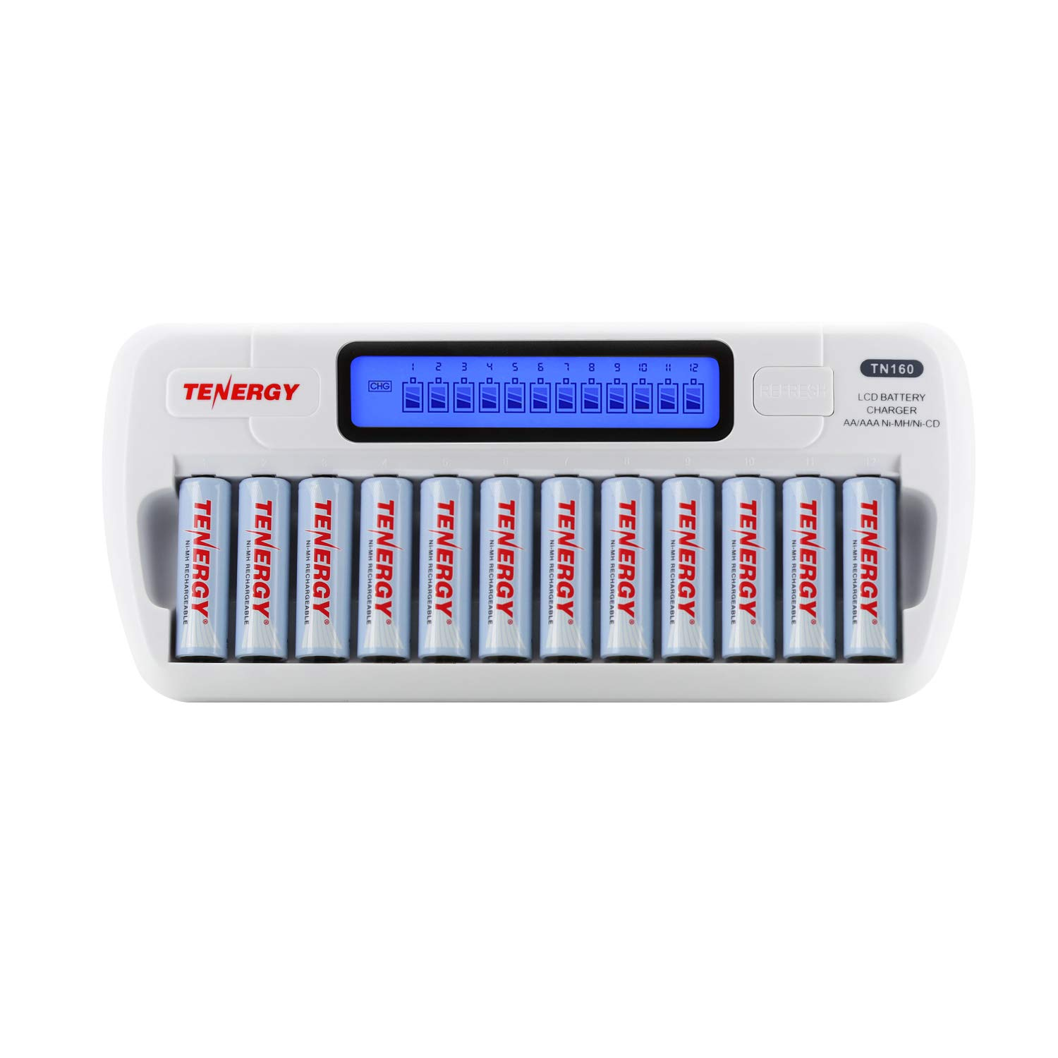 Tenergy TN160 12-Bay LCD NiMH/NiCD AAA/AA Battery Charger + 12x AA NiMH Rechargeable Batteries, Double A Batteries for Everyday Electronics