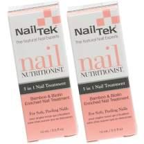 Nail Tek Nail Nutritionist, Bamboo & Biotin 5 in 1 Nail Treatment for Soft and Peeling Nails, 0.5 oz, 2-Pack