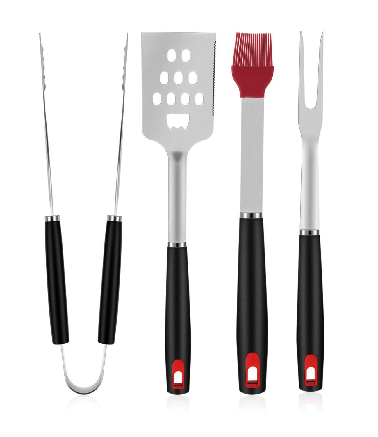 """Yasmine Grill Brush with Scraper - Bristle Free 18"""" for Porcelain Grates Outdoor Stainless Steel Grill Cleaner Tool - BBQ Safe Scraper Barbeque Cleaning Accessories (4 Piece)"""
