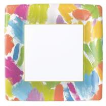 Caspari Brushstroke Square Paper Dinner Plates - Pack of 8