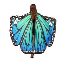 Halloween Party Soft Fabric Butterfly Wings Shawl Fairy Ladies Nymph Pixie Costume Accessory for Women Adult (Blue)