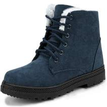 Snowball Boots for Women Outdoor Winter Snow Boots Suede Cotton Warm Fur Lined Ankle Booties Lace Up Flat Platform Shoes