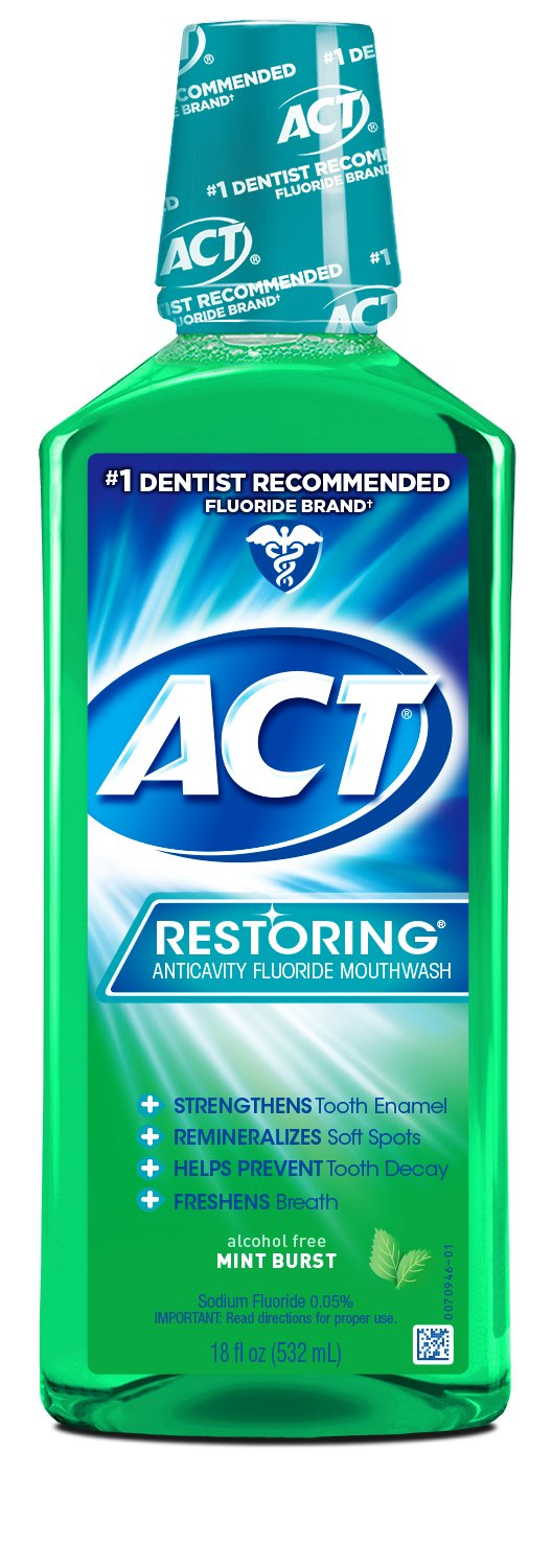 ACT Restoring Anticavity Fluoride Mint Burst Mouthwash 18 Ounce Helps Freshen Breath & Strengthen Tooth Enamel to Prevent Tooth Decay & Cavities