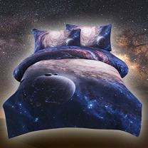 Sleepwish Queen Galaxy Duvet Cover Outer Space Themed Bedding 82x82 Inch Doona Reversible Duvet Cover Set