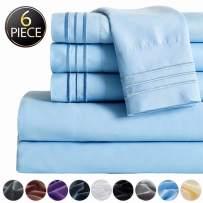 "SAKIAO -6PC California King Bed Sheets Set - Brushed Microfiber 1800 Thread Count Percale - 16"" Deep Pocket Wrinkle Free & Fade Resistant - Egyptian Sheet Set (Lake Blue,California King)"