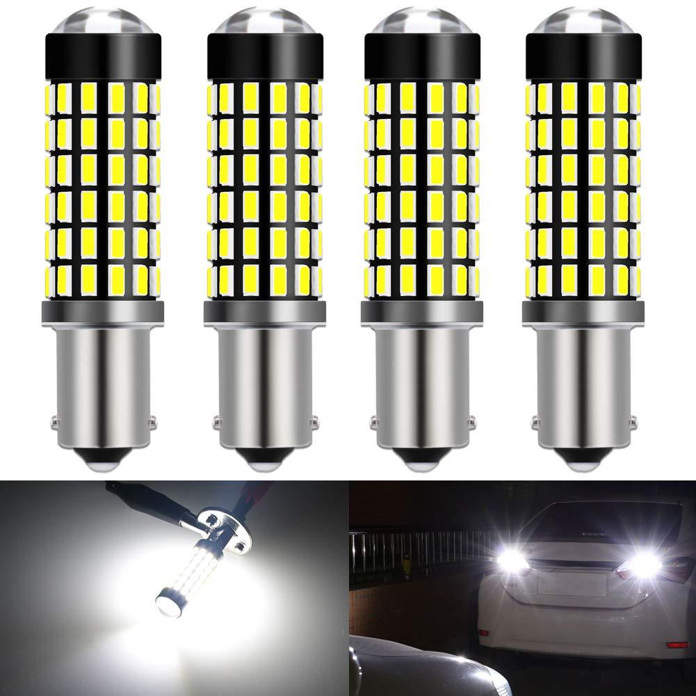 KATUR BA9 BA9S 53 57 1895 Led Light Bulb Super Bright 930 Lumens High Power 3014 78SMD Lens LED Bulbs for Brake Turn Signal Tail Backup Reverse Brake Light Lamp,Xenon White(Pack of 4)
