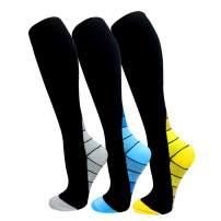 ROWILUX Compression Socks for Women Men 20-30mmHg for Running Sport Travel Nursing 3 Pairs Pack