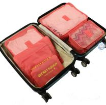 6Pcs Travel Storage Bags Clothes Packing Cubes Luggage Organizer Pouch (Light red)