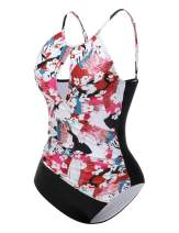 Wonmax Women's One Piece Floral Swimsuit Front Keyhole Swimwear with Removable Bust Pad S-5XL