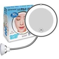 10X Magnifying Makeup Mirror, Adjustable Flexible Gooseneck LED Mirror & Locking Suction Cosmetic Mirror, Magnification Mirrors, 360° Swivel Wall Mirror, Vanity Mirror for Bedroom Bathroom