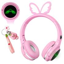 Pink Kids Wireless Bluetooth Headphones,Cute Butterfly Over-Ear Headphones with Built-in Microphone,Wireless and Wired Headset for Phones,Tablets,PC,Laptop, for Boys Girls Toddler,Pink