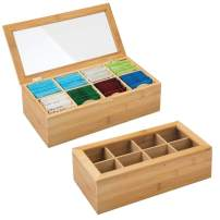 mDesign Bamboo Tea Storage Organizer Box - 8 Divided Sections, Hinged Lid with Clear Window Top - Decorative Holder for Tea Bags, Packets, Small Items, Accessories - 2 Pack - Natural Light Wood/Clear