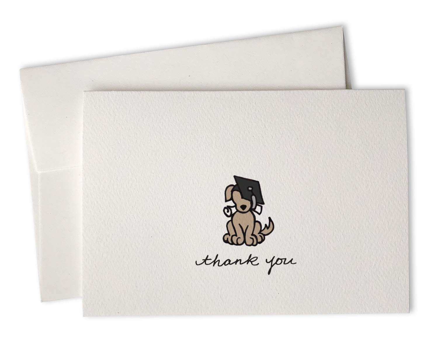 Grad Dog Eco-Friendly Premium Textured Graduation Thank You Cards - For Graduates and Students - Hand-Drawn Thank You Notes by Sugartown Greetings - 24 Cards with Envelopes