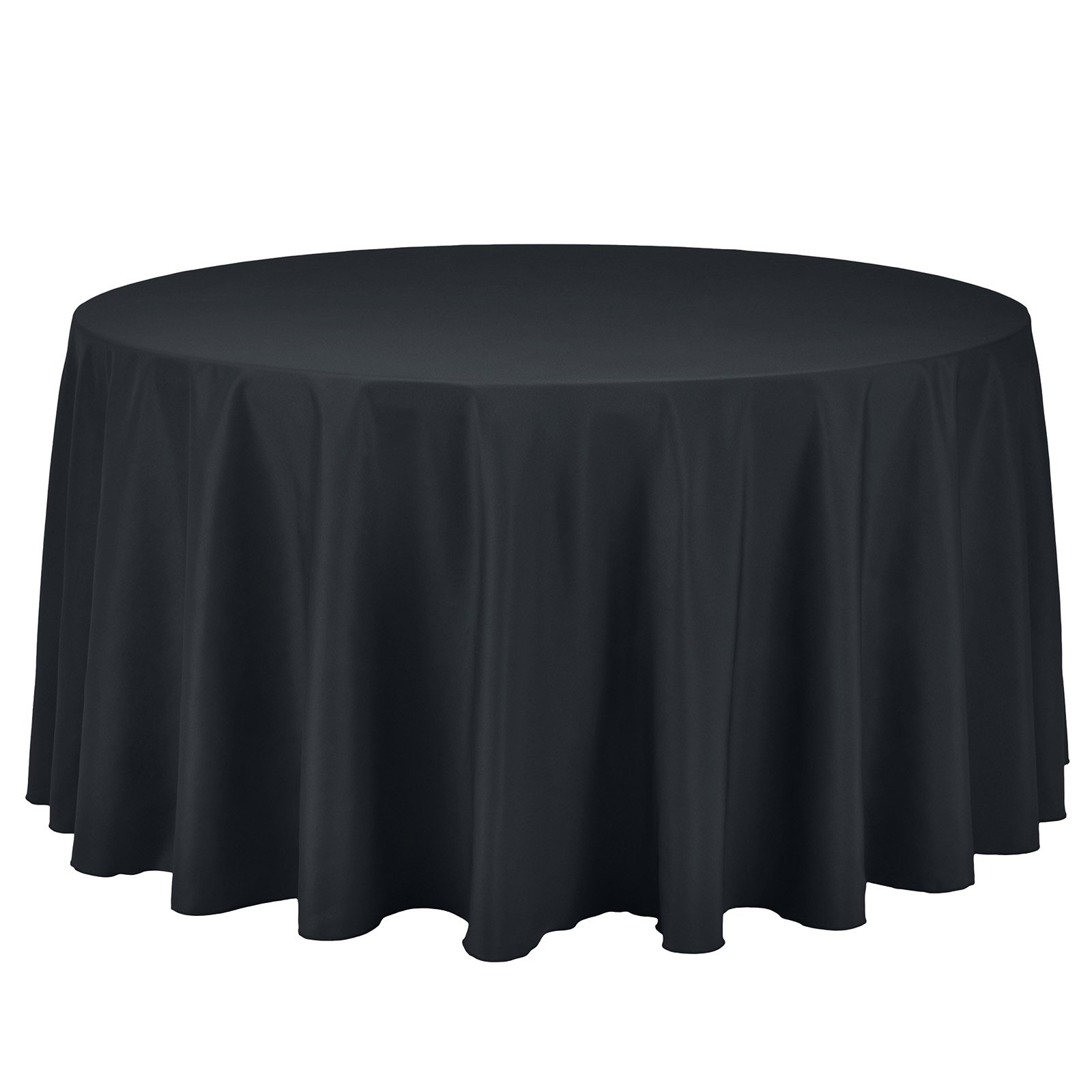 Remedios Round Tablecloth Solid Color Polyester Table Cloth for Bridal Shower Wedding Table – Wrinkle Free Dinner Tablecloth for Restaurant Party Banquet (Dark Gray, 108 inch)