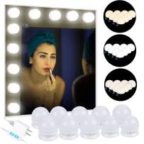 Anpro 3m LED Vanity Mirror Lights Kit, Makeup Lights with 10 Dimmable Light Bulbs, Three Light Cot Color Modes can be Adjusted, Perfect for Makeup Mirrors, Bathroom Lighting (Mirrors are not Included)