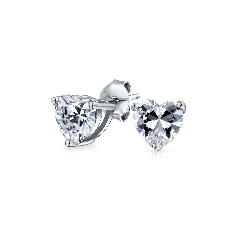 .75CT Cubic Zirconia Brilliant cut AAA CZ Solitaire Heart Shape Stud Earrings For Women 925 Sterling Silver 5 6 7 8 MM