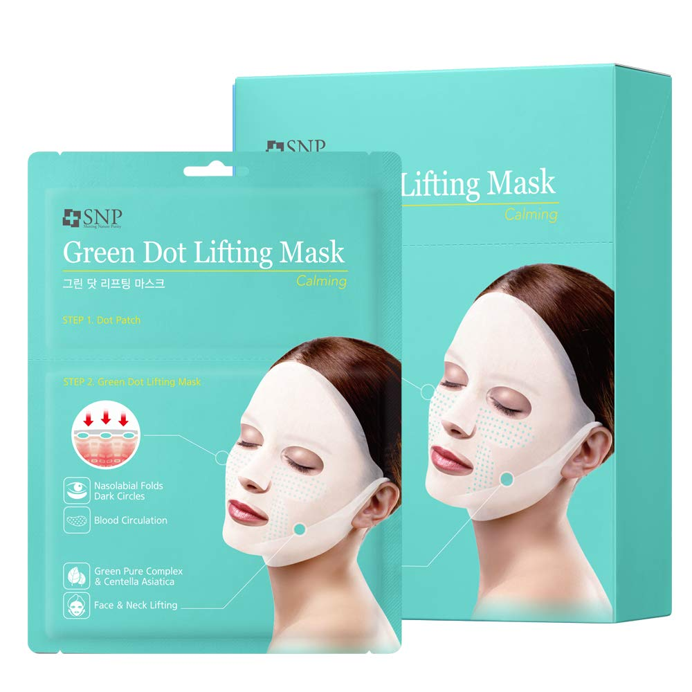 SNP - Green Dot Tension Calming Lifting Mask - Soothing & Calming Effects for All Sensitive Skin Types - 20 Sheets - 1 Mask & 4 Patches per Sheet - Best Gift Idea for Mom, Girlfriend, Wife, Her, Women