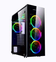 Apevia Trinity-S Mid Tower Gaming Case with 4 x Full-Size Tempered Glass Panels, Top USB3.0/USB2.0/Audio Ports, 6 x Spectra RGB Fans