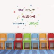 IARTTOP Inspirational Quote Wall Decal, Watercolor Motivational Saying Make Today Awesome Colorful Dot Wall Sticker for Classroom Bedroom Decor