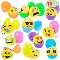 "12 PCs Filled Easter Eggs with Plush Emoji, 2.25"" Bright Colorful Easter Eggs Prefilled with Variety Plush Emoji"