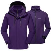 TACVASEN Women's 3-in-1 Ski Jacket Waterproof Snowboard Fleece Inner with Detachable Hood