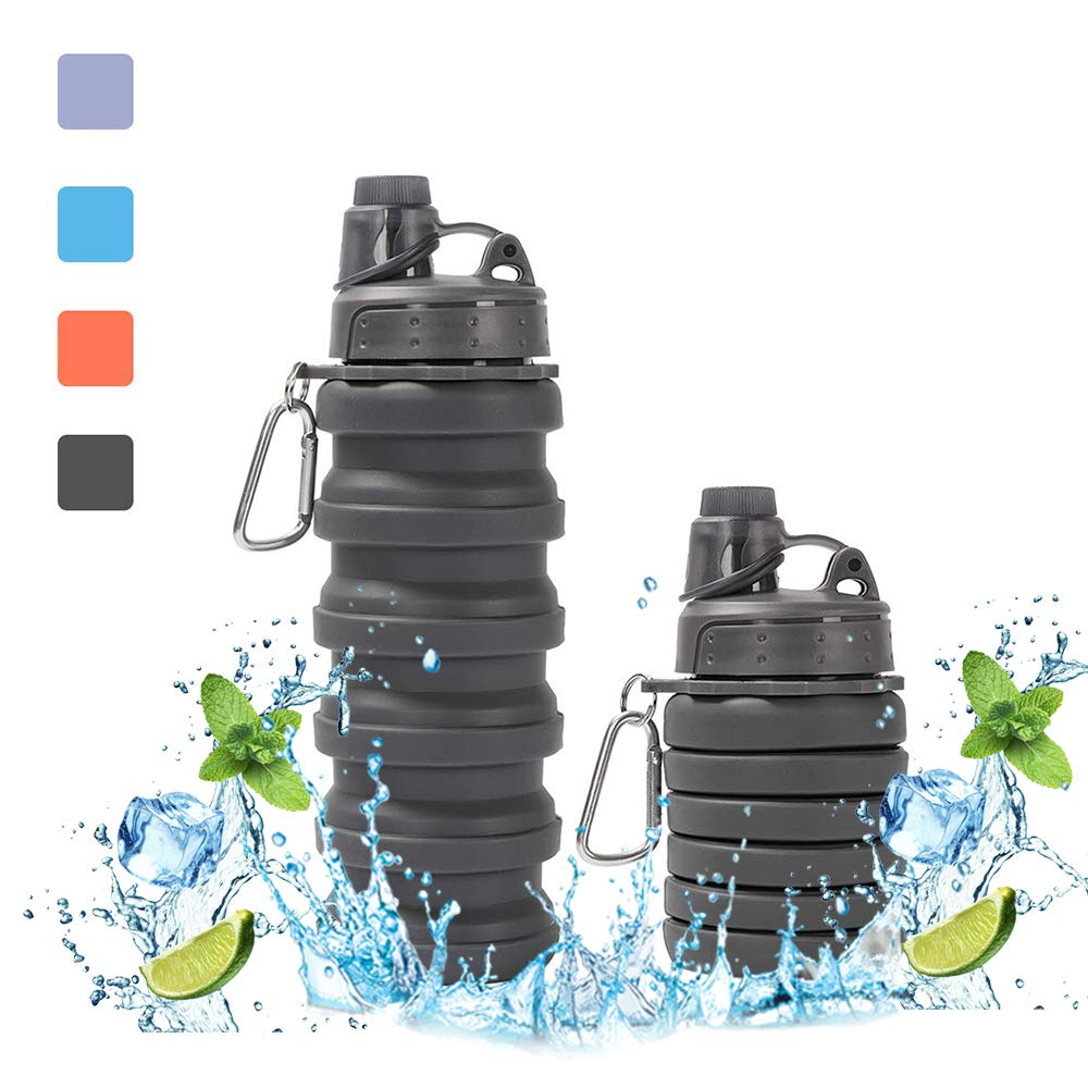 W WORAMHL Foldable Travel Water Bottle,BPA Free FDA Passed Silicone Collapsible Travel Water Bottles with Carabiner