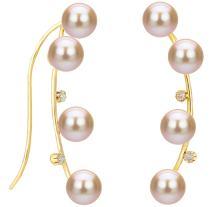 14k Yellow Gold .04tcw Diamond 4-4.5mm Pink Freshwater Cultured Pearl Crawler Earrings Back to School