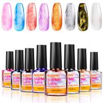 BURANO Marble Nail Polish, Blooming Gel Nail Polish Mable Nails Watercolor Marble Tint Liquid for Nails, Watercolor Nail Polish 8 Colors Set