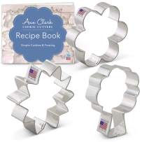 Ann Clark Cookie Cutters 3-Piece Flower Bouquet Cookie Cutter Set with Recipe Booklet, Sunflower, Tulip and Tree/Bouquet