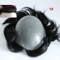 Lumeng Men's Wig Transparent PU Men Toupee Men's Hair Pieces Unit Hair Replacement System 1# Jet Black Color 8x10inch Wig for Men Human Hair