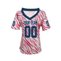 Pullonsy Pink Zebra Pattern Custom Football Jerseys for Women Girls Embroidered Names and Numbers Design Your Own