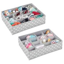 mDesign Soft Fabric Dresser Drawer and Closet Storage Organizer for Child/Kids Room and Nursery - Large 16 Section Organizer - Polka Dot Print, 2 Pack - Light Gray/White