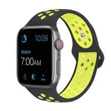 SMEECO Compatible with iWatch Band 38mm 40mm 42mm 44mm,Soft Breathable Silicone Strap Replacement iWatch Bands for iWatch Series 4,Series 3, Series 2, Series 1 Sport Nike S/M M/L