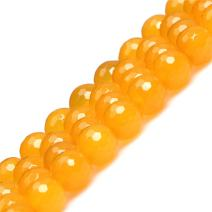 JOE FOREMAN 10mm Yellow Agate Beads for Jewelry Making Natural Semi Precious Gemstone Round Faceted Strand 15""