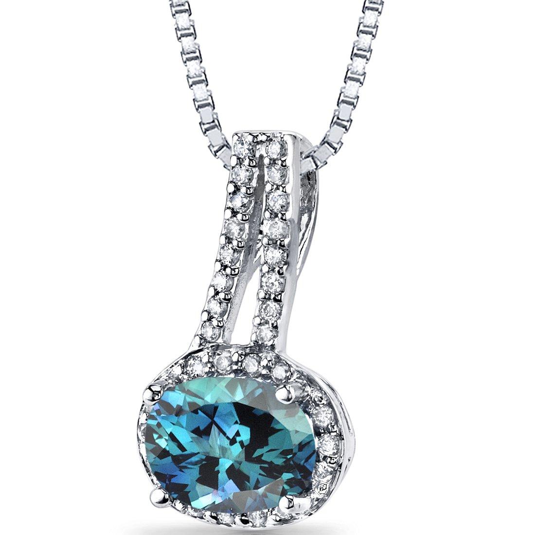 14K White Gold Created Alexandrite Diamond Pendant Oval Cut 1.5 Carats Total