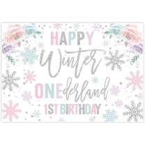 Allenjoy 7x5ft Winter Onederland Backdrop Newborn Baby Girl's 1st First Christmas Holiday Birthday Party Candy Table Decor Banner White Snowflakes Photo Booth Background Pink Silver Event Decoration