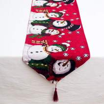 ZGWJ Decorative Table Runner Linen Table Cloth with Tassels for Christmas, Halloween, Dinner Parties Supplies and Home Decorations(Snowman)
