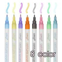 BAISDY 8Pcs Drawing Double Line Outline Pen Highlight Markers for Greeting Cards DIY Paintings Posters