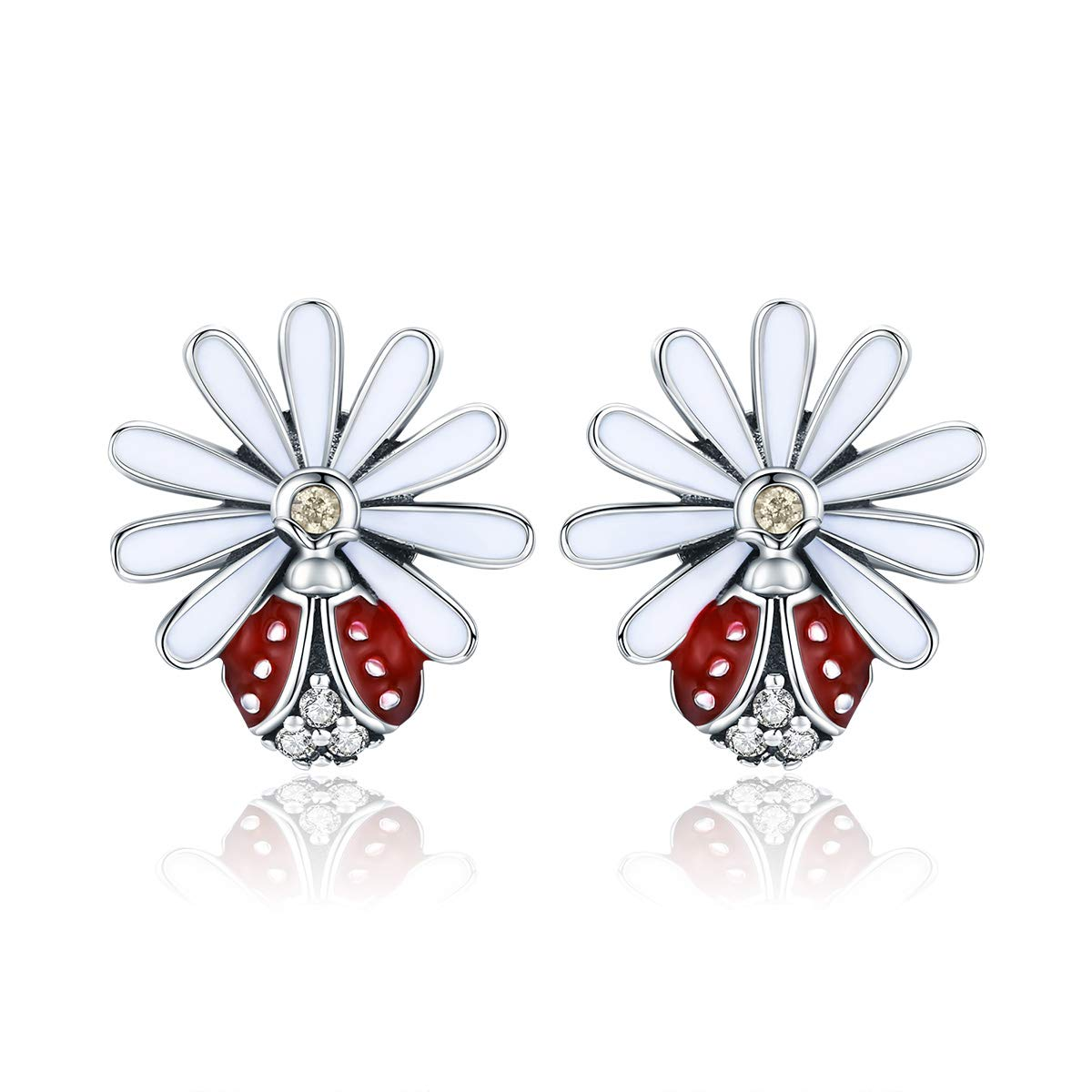 BAMOER 925 Sterling Silver Ladybug Accessories for Women Ladybug Bracelet Charm Ladybug Gifts