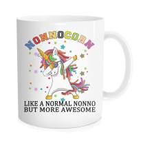 Funny Unicorn Coffee Mug - Nonnocorn Like A Normal Nonno,But More Awesome - Birthday Fother's Day For Grandpa from Grandson Granddaughter - White Fine Bone Ceramic 11 oz