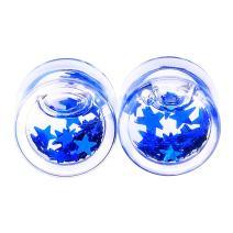 Qmcandy 2pcs/4pcs Acrylic Liquids Floating Glitter Star Ear Plug Gauge 2g-5/8 Piercing