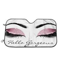 CHILL TEK Hello Pink Eyeshadow Eyelash Universal Auto Accessories Windshield Visor Cover Foldable for Heat Sun Prevention Size 51.2x27.5 Inch