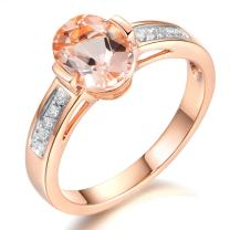 Succinct Fashion 14K Rose Gold Morganite Gemstone Diamond Halo Engagement Wedding Band Promise Ring for Women