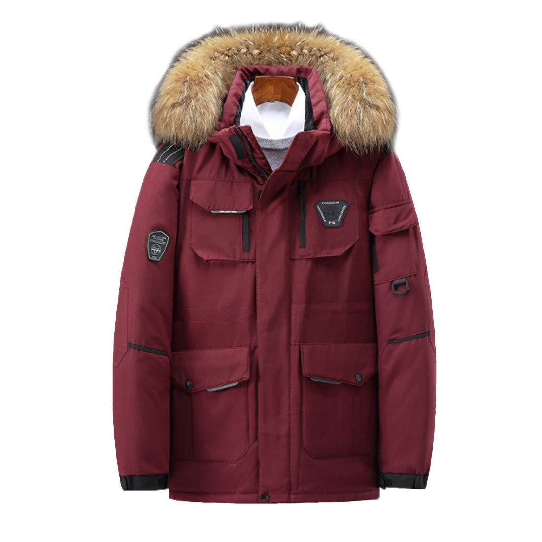 HZCX FASHION Men's Thick Outdoor Down Coats Couples Winter Parka with Fur Hood