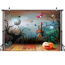 LYWYGG Comic Backdrop 7x5ft Horror Forest Photography Backdrops Pumpkin Photo Background for Deserted Shack Backdrop Shooting Light Brown Board Backdrop CP-83